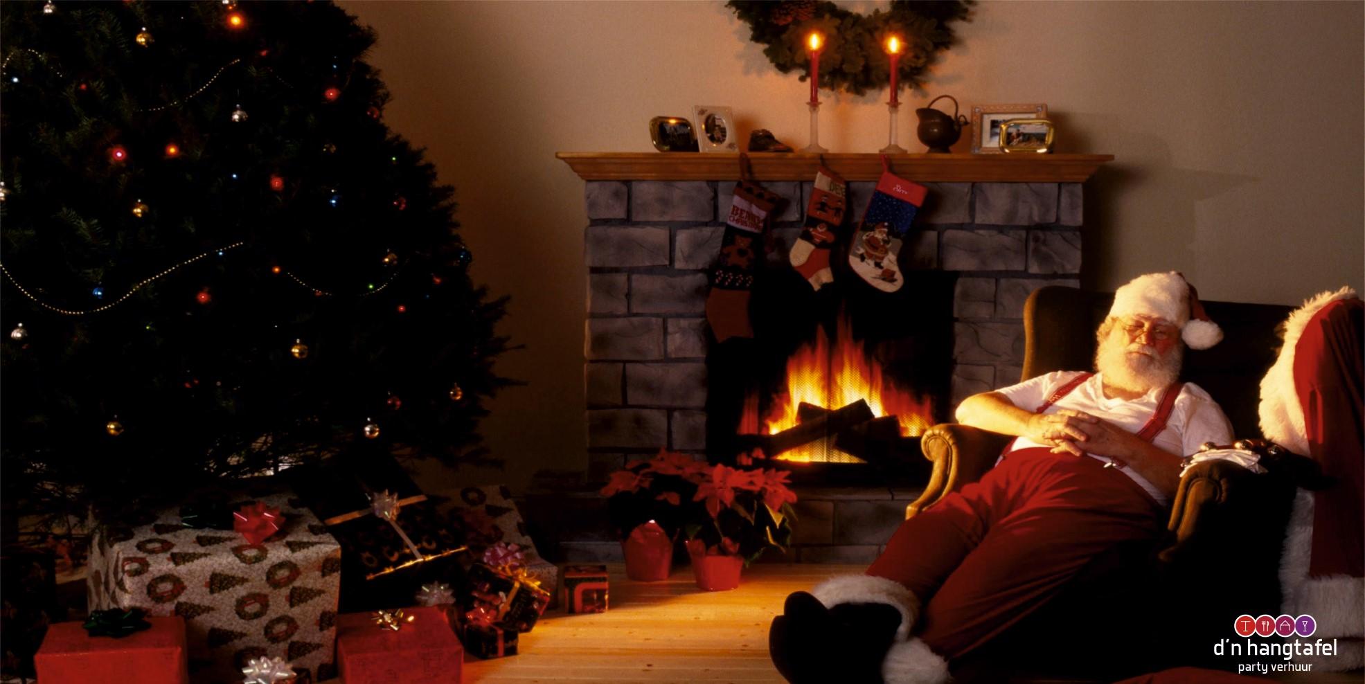 Bouwhek met kerst thema doek (kerstman met kerstboom)