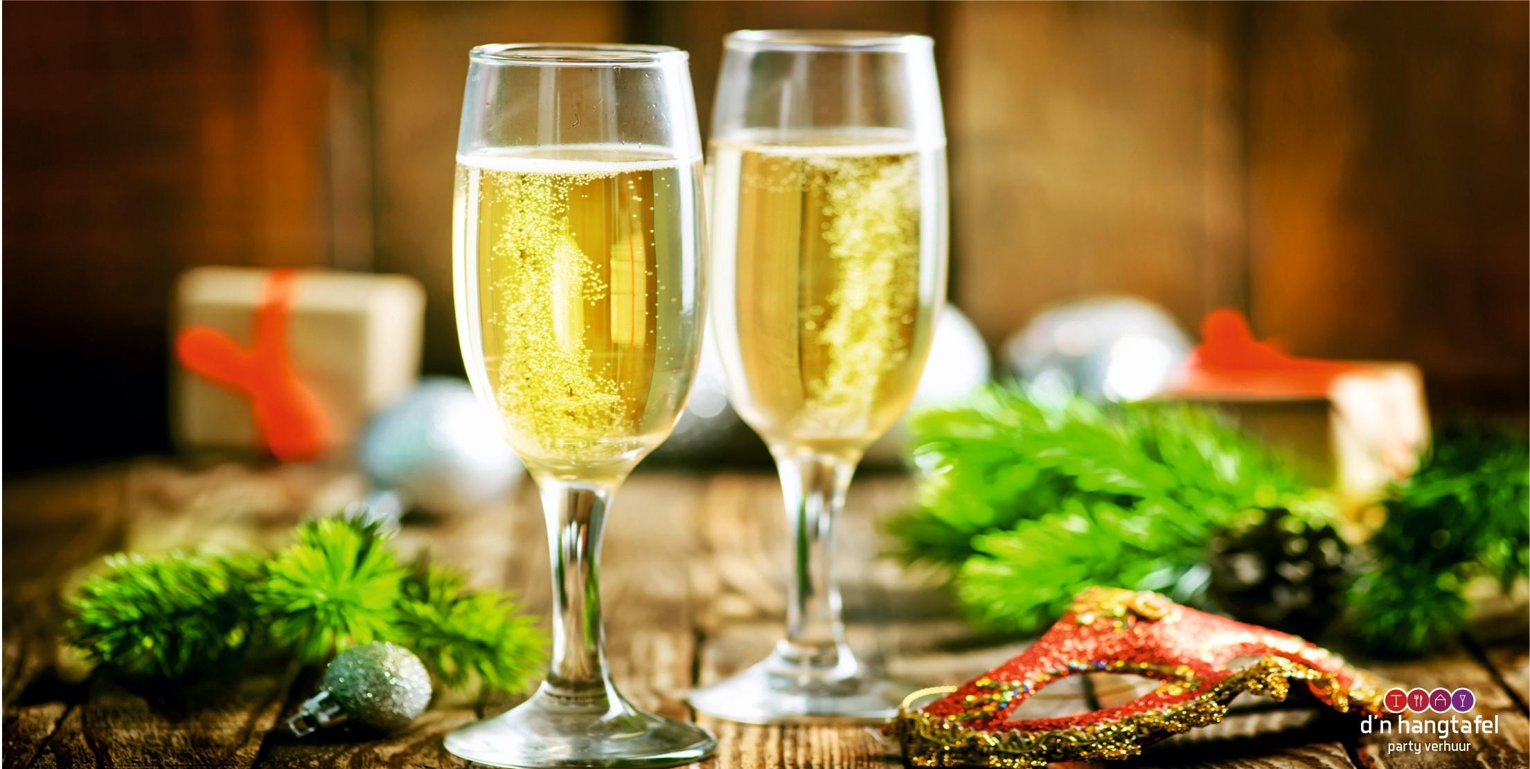 Bouwhek met kerst thema doek (champagne)