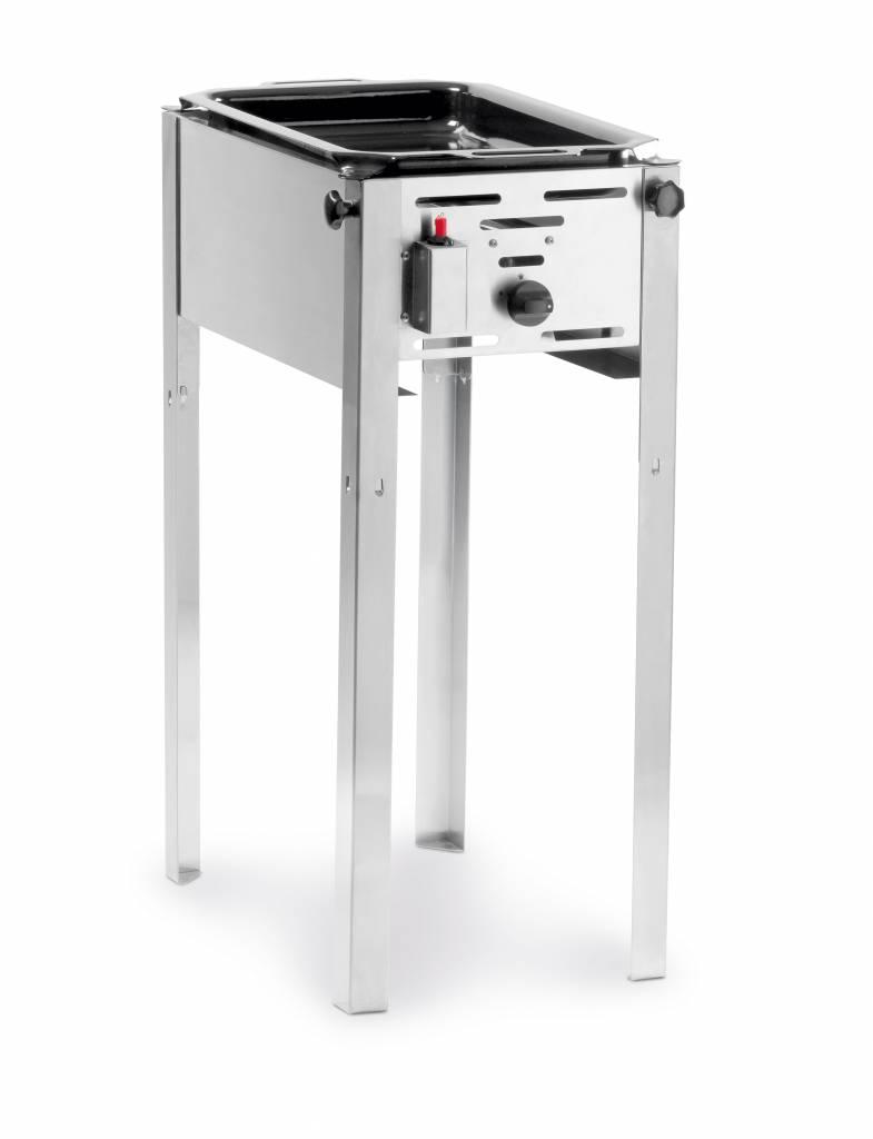 Barbecue met bakplaat gas klein 54 x 34 cm
