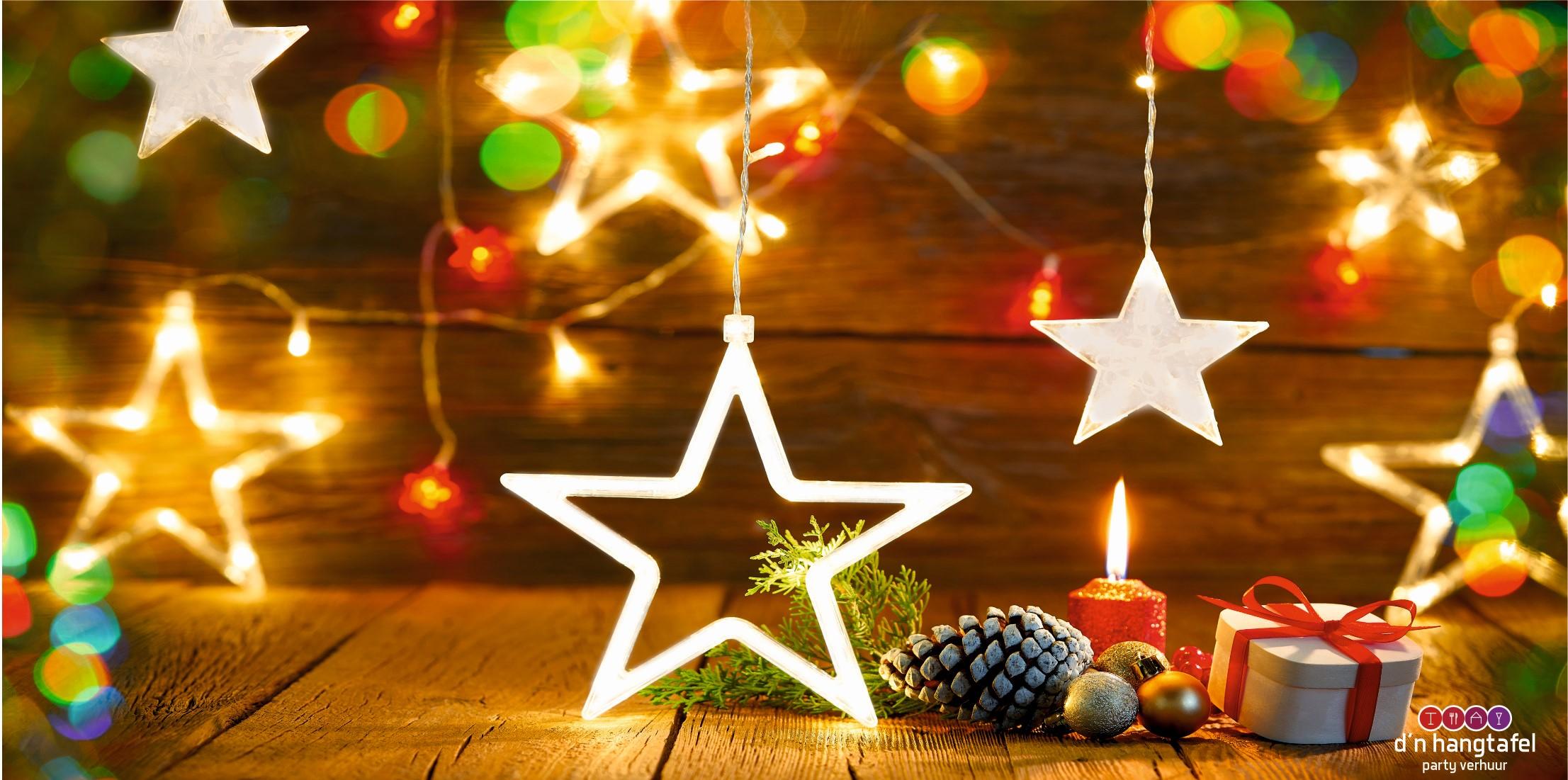 Bouwhek met kerst thema doek (Kerststerren met verlichting)